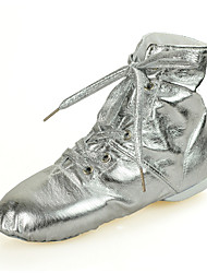 cheap -Women's Dance Shoes Leatherette Jazz Shoes Sneaker / Full Sole Flat Heel Gold / Silver