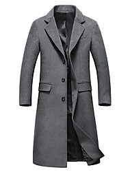 cheap -Men's Winter Notch lapel collar Overcoat Long Solid Colored Daily Basic Long Sleeve Wool Black Gray M L XL XXL / Sophisticated
