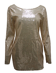 cheap -Women's Sequins Daily Club Flare Sleeve Bodycon Dress - Color Block Sequins Spring Gold M L XL