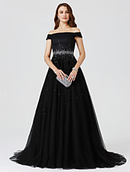 cheap -Ball Gown Off Shoulder Sweep / Brush Train Tulle Minimalist Cocktail Party / Formal Evening / Holiday Dress with Beading 2020