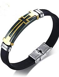cheap -Men's Bracelet Bangles Cross Ladies Fashion Hard Plastic Bracelet Jewelry Black For Gift Daily / Titanium Steel