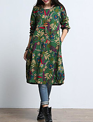 cheap -Women's Army Green Dress Chinoiserie Fall Daily Weekend Loose Floral M L Loose / Cotton