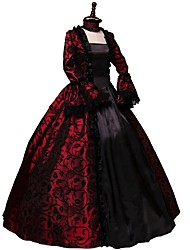 abordables -reine Elizabeth Rétro Vintage Rococo Gothique Victoriens 18ème siècle Robe Costume de Soirée Bal Masqué Femme Dentelle Coton Costume Violet / Vert / Rouge Vintage Cosplay Soirée Fête scolaire Manches