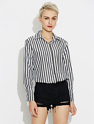 cheap -Women's Daily Cotton Shirt - Striped Square Neck White / Fine Stripe