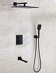 cheap -Shower Faucet Set - Thermostatic Rain Shower Contemporary / Modern Contemporary Black Wall Mounted Ceramic Valve Bath Shower Mixer Taps / Brass / Two Handles Four Holes