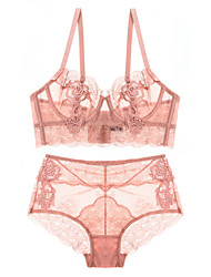 cheap -Women's Lace Mesh Wireless Padless 3/4 Cup Bras & Panties Sets Solid Colored Super Sexy Blushing Pink Gray Wine / Plus Size