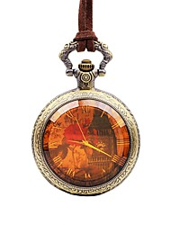 cheap -Men's Pocket Watch Quartz Leather Brown Cool Large Dial Analog Casual - Bronze One Year Battery Life