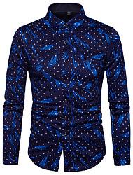 cheap -Men's Polka Dot Graphic Print Slim Shirt Street chic Daily Weekend Blue / Red / Long Sleeve