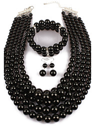 cheap -Women's Pearl Jewelry Set Statement Ladies African Imitation Pearl Earrings Jewelry Black For Casual Evening Party / Necklace