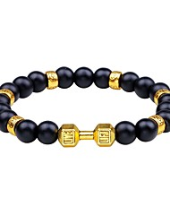 cheap -Men's Obsidian Bead Bracelet Simple Agate Bracelet Jewelry Gold / Silver For Daily Carnival