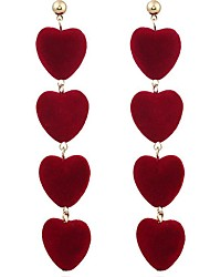 cheap -Women's Drop Earrings Hanging Earrings Long Heart Ladies Fashion Earrings Jewelry Gray / Red / Green For Daily Evening Party Two Panels