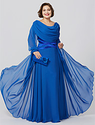 cheap -Sheath / Column Cowl Neck Floor Length Chiffon Long Sleeve Classic & Timeless / Elegant & Luxurious / Plus Size Mother of the Bride Dress with Crystals / Criss Cross 2020