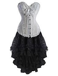 cheap -Women's Lace Up Corset Dresses - Floral White XXL XXXL XXXXL