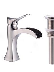 Недорогие -Смеситель - Водопад Матовый никель По центру Одной ручкой одно отверстиеBath Taps