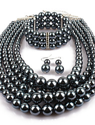 cheap -Women's Pearl Jewelry Set Statement Ladies Imitation Pearl Earrings Jewelry Light Black For Casual Evening Party / Necklace
