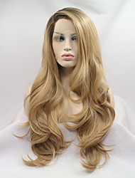 cheap -Synthetic Lace Front Wig Water Wave Water Wave Layered Haircut Monofilament L Part Lace Front Wig Blonde Long Honey Blonde Synthetic Hair Women's Ombre Hair Dark Roots Blonde