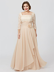 cheap -Sheath / Column Square Neck Floor Length Chiffon / Metallic Lace 3/4 Length Sleeve Classic & Timeless / Elegant & Luxurious / Floral Mother of the Bride Dress with Sash / Ribbon / Flower Mother's Day