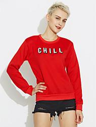 abordables -Femme Mode Sweatshirt - Couleur unie / Pois, Couleur Pleine Coton / Printemps / Automne / Doublure Polaire