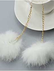 cheap -Women's Drop Earrings Hoop Earrings Ball Feather Oversized Earrings Jewelry Black / Fuchsia / Red For Daily Street