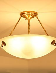 cheap -ZHISHU 3-Light 40 cm Mini Style Pendant Light Metal Glass Inverted Brass Traditional / Classic 110-120V / 220-240V