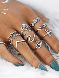 cheap -Women's Rings Set Pinky Ring 10pcs Silver Crystal Alloy Irregular Ladies Vintage Sweet Wedding Party Jewelry Leaf Flower Infinity