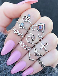 cheap -Women's Knuckle Ring Pinky Ring 10pcs Silver Alloy Irregular Ladies Unusual Unique Design Daily Jewelry