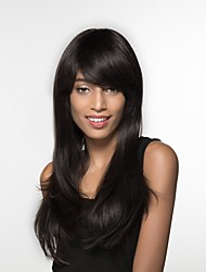 cheap -Human Hair Wig Long Straight Straight Machine Made Women's Black#1B Honey Blonde Medium Auburn