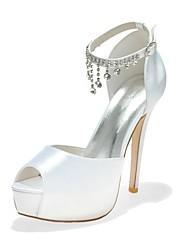 abordables -Femme Chaussures de mariage Bout ouvert Strass Satin Escarpin Basique Printemps / Eté Bleu / Rose / Ivoire / Mariage / Soirée & Evénement