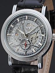 cheap -WINNER Men's Skeleton Watch Wrist Watch Mechanical Watch Automatic self-winding Leather Black / Brown 30 m Hollow Engraving Analog Classic Vintage Casual - Black Black / Brown White / Brown