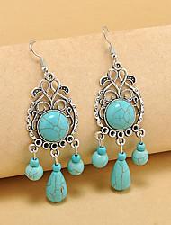 cheap -Women's Turquoise Drop Earrings Hoop Earrings Long Ladies Vintage Bohemian Boho western style Gemstone Earrings Jewelry Turquoise For Party Casual