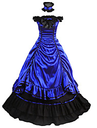 cheap -Vintage Gothic Victorian Medieval 18th Century Dress Party Costume Masquerade Women's Satin Costume Blue Vintage Cosplay Party Prom Sleeveless Floor Length Ball Gown Plus Size Customized