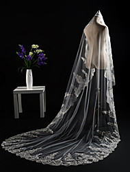 cheap -One-tier Cut Edge / Lace Applique Edge / Modern Wedding Veil Cathedral Veils / Headpiece with Appliques / Paillette Lace / Tulle / Sequined / Angel cut / Waterfall