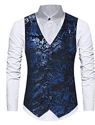cheap -Men's Daily Spring / Fall Regular Vest, Floral V Neck Sleeveless Polyester Print Black / Blue / Slim