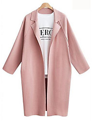cheap -Women's Going out Street chic Fall / Winter Maxi Trench Coat, Solid Colored V Neck Long Sleeve Cotton / Linen Blushing Pink / Gray / Light Blue