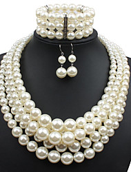 cheap -Women's Pearl Jewelry Set Statement Ladies Imitation Pearl Earrings Jewelry Beige For Casual Evening Party Prom / Necklace