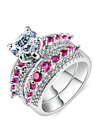 cheap -Women's Band Ring Cubic Zirconia High End Crystal Two-piece Suit Fuchsia Zircon Silver Plated Circle Geometric Classic Vintage European Party Daily Jewelry Princess