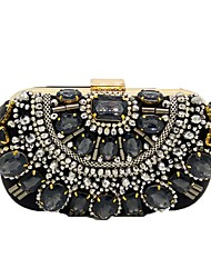 cheap -Women's Bags Polyester Evening Bag Crystals Beading Floral Print for Wedding / Party / Event / Party Black / Rhinestone Crystal Evening Bags