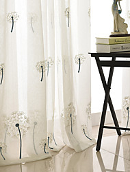 cheap -Contemporary Sheer Curtains Shades Indoor Two Panels Embroidery Bedroom