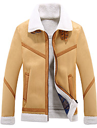 cheap -Men's Daily / Weekend Fall / Winter Short Leather Jacket, Solid Colored Shirt Collar Long Sleeve PU Camel / Khaki / Slim