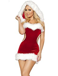 cheap -Santa Claus Mrs.Claus Costume Women's Christmas Festival / Holiday Polyster Red Carnival Costumes Solid Colored