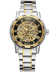 cheap -WINNER Men's Skeleton Watch Wrist Watch Mechanical Watch Automatic self-winding Stainless Steel Silver 30 m Hollow Engraving Cool Analog Luxury Classic Vintage Casual - Gold Black