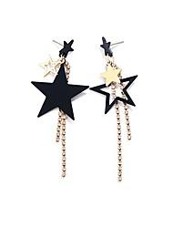 cheap -Women's Drop Earrings Mismatched Star Ladies Tassel Sweet Fashion Imitation Diamond Earrings Jewelry Black For Daily Formal