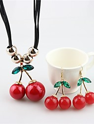 cheap -Women's Drop Earrings Pendant Necklace Cherry Fruit Ladies Sweet Pearl Earrings Jewelry Red For Daily