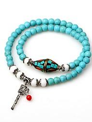 cheap -Women's Turquoise Bead Bracelet Wrap Bracelet Aquarius Ladies Asian Bohemian Fashion Boho Turquoise Bracelet Jewelry Turquoise For Date