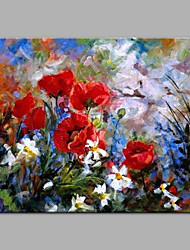 cheap -Oil Painting Hand Painted - Floral / Botanical Modern Rolled Canvas