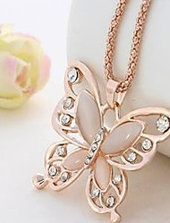 cheap -Women's Pendant Necklace Chain Necklace Butterfly Dainty Ladies Vintage Elegant Acrylic Alloy Pink Necklace Jewelry For Gift Daily