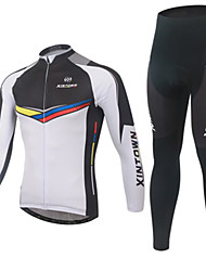 cheap -Men's Long Sleeve Cycling Jersey with Tights White Bike Clothing Suit Windproof Quick Dry Winter Sports Fashion Mountain Bike MTB Road Bike Cycling Clothing Apparel