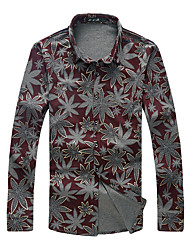 cheap -Men's Daily Boho Cotton Shirt - Floral Button Down Collar Red / Long Sleeve