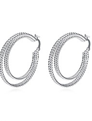 cheap -Women's Drop Earrings Hoop Earrings Ladies Vintage Sweet Fashion Silver Plated Earrings Jewelry Silver For Daily Evening Party
