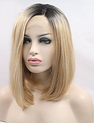 cheap -Synthetic Lace Front Wig Straight Straight Bob Lace Front Wig Blonde Short Black / Honey Blonde Synthetic Hair Women's Dark Roots Blonde / Doll Wig